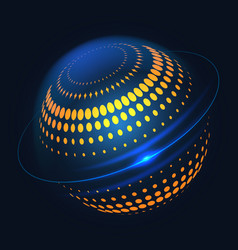 Blue halftone curcular 3d shape design vector