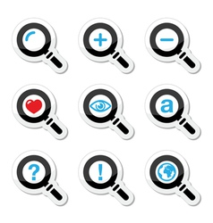 Magnyfying glass search icons set vector