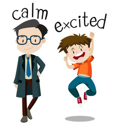 Opposite wordcard for calm and excited vector
