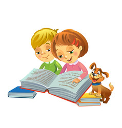 Cute girl and boy reading book vector