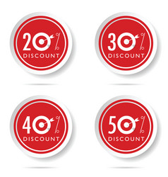 Discount icon set on red button vector