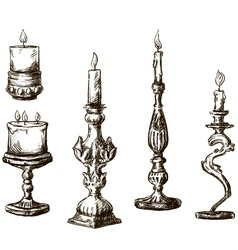 Hand drawn candles retro candlesticks vector