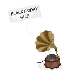 A vintage gramophone playing black friday news vector