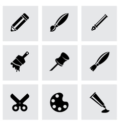 Black art tool icon set vector
