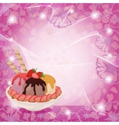 Ice cream strawberries and abstract background vector