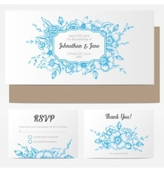 Vintage floral wedding invitation vector