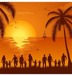 Tropical family vacation vector