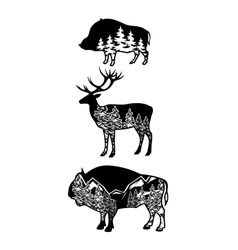 Stylized image wild boar deer bison with vector
