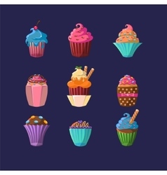 Colorful cupcakes set vector
