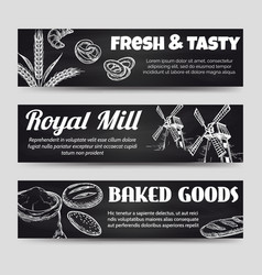 bakery chalkboard banners template set vector image vector image