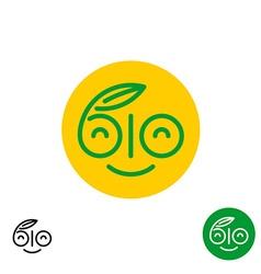 Bio letters symbol fun smiley happy face logo vector