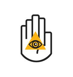 Black line hand symbol holding orange seeing eye vector