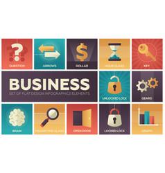 business - set of flat design infographics vector image