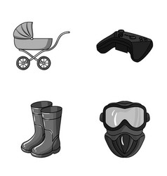 child fishin and other monochrome icon in vector image vector image