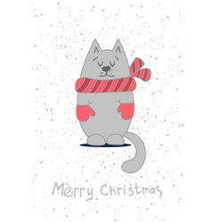 christmas card template with cute cat vector image