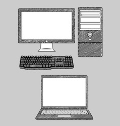 Computer and Laptop vector image vector image