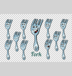Diner fork emotions characters collection set vector