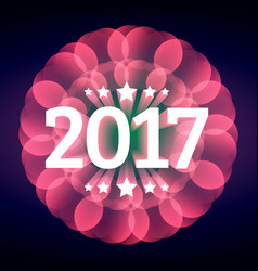 Elegant happy new year text for 2017 with pink vector