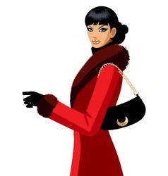 elegant woman in winter coat vector image vector image