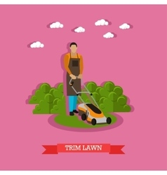 Gardener mowing the lawn with mower flat design vector