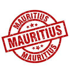 Mauritius red round grunge stamp vector