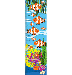 Measuring height scales on paper with clownfish vector