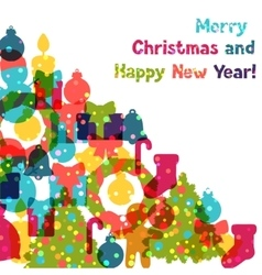 Merry Christmas and Happy New Year invitation card vector image vector image