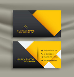 Minimal yellow and black business card design vector