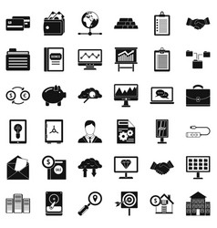 Online business icons set simple style vector