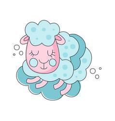 pink and blue cartoon of sleepy sheep vector image vector image