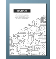 Real estate - line design brochure poster template vector