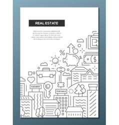 Real Estate - line design brochure poster template vector image vector image