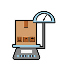 Scale with box carton delivery icon vector