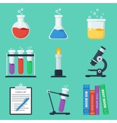 Set of flat chemistry icons vector