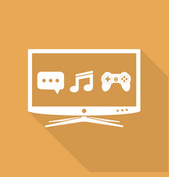 smart tv flat design icon vector image vector image