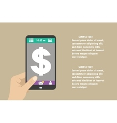 smartphone with dollar sign on the screen vector image vector image