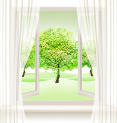 Summer background with an open window and green vector