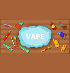 Vaping tools banner horizontal cartoon style vector