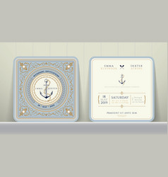 Vintage nautical anchors and chain wedding card vector