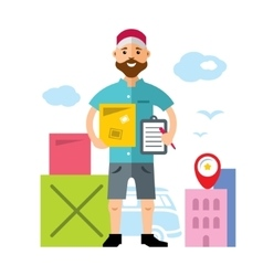 Delivery man flat style colorful cartoon vector