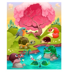 Group of cute animals in the countryside vector