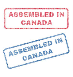 assembled in canada textile stamps vector image