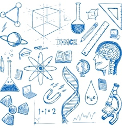 Sciences doodles icons set vector