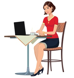 girl in the Internet cafe vector image