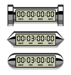 Chrome lcd counter - countdown timer vector