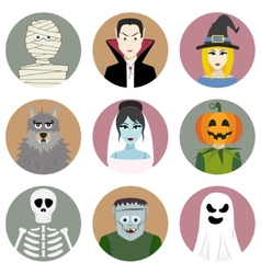 Set of nine halloween characters vector