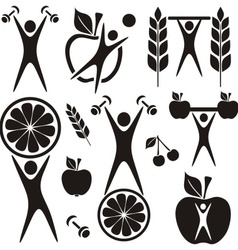Health and food symbols vector