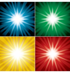 Set of color backgrounds with flash vector