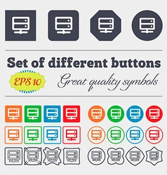 Server icon sign big set of colorful diverse vector