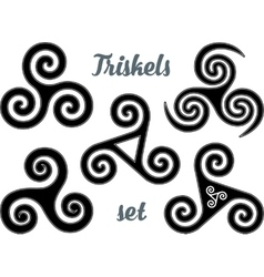 Black and white celtic triskel symbols set vector